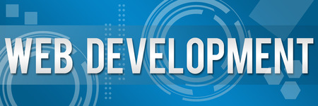 Web Development text in Business Background Banner