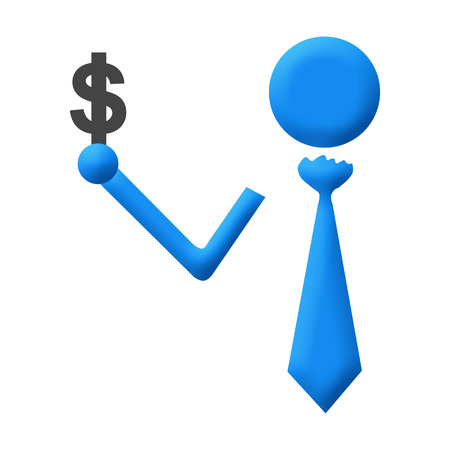 Human Icon Holding Dollar Symbol photo
