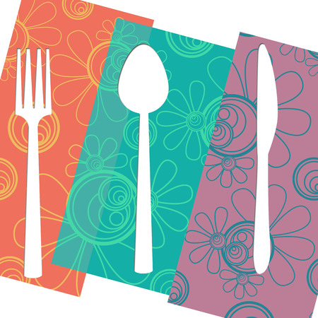 Fork Knife Spoon Floral Isolated photo