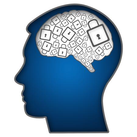 Testa umana con il cervello Riempito con serrature