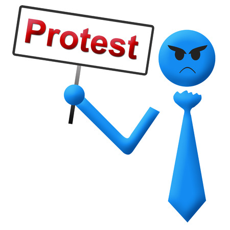 protest man: Blue Protest Angry Man Signboard