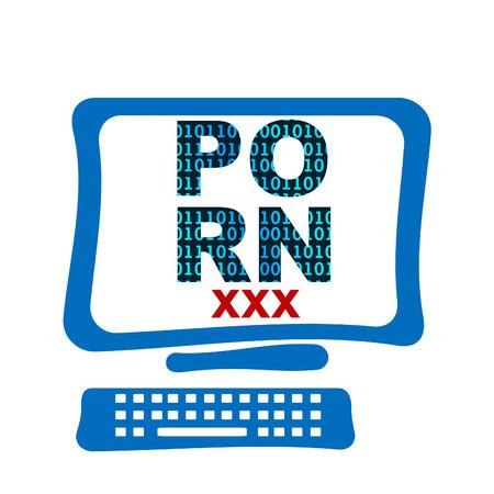 pornografia: Inform�tica Porno pantalla Foto de archivo