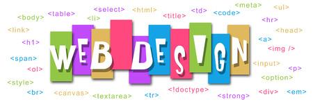 Web Design Colorful Stripes Code photo