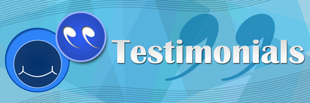 Testimonials Blue Squares Background Stock Photo