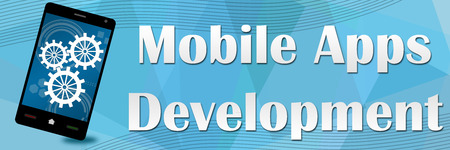 mobile apps: Mobile Apps Development Blue Squares Banner Stock Photo