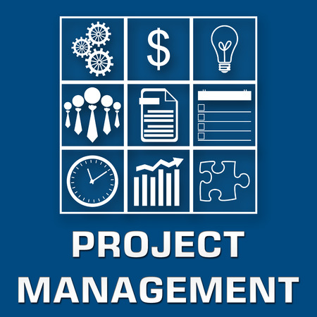 Project Management Blue White Square photo