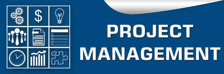 Project Management Blau Weiß Banner Standard-Bild - 35768725