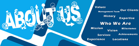 About Us Text Symbols Keywords Banner
