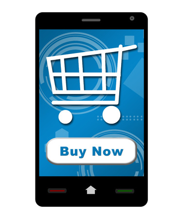 shopping cart isolated: Buy Now Smartphone Stock Photo