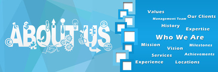 separator: About Us Squqres Separator Blue Banner Stock Photo