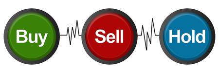 hold: Buy Sell Hold Heartbeats Stock Photo