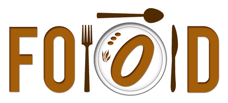 food plate: Food Text With Plate Stock Photo