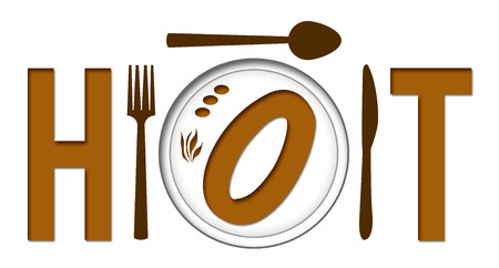 food plate: Hot Text With Food Plate Stock Photo