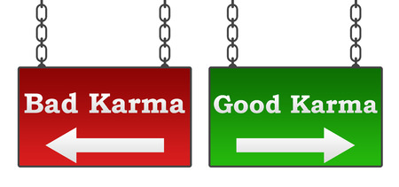 good and bad: Good Bad Karma Signboards Stock Photo