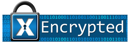 encode: Encrypted Blue Banner Stock Photo