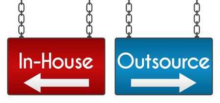 Outsource InHouse Schilder 987 Standard-Bild - 39556064