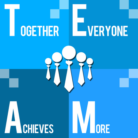 business metaphore: Team  Together Everyone Achieves More Blue Stock Photo
