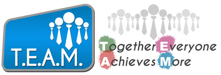 everyone: Team  Together Everyone Achieves More Blue Stock Photo