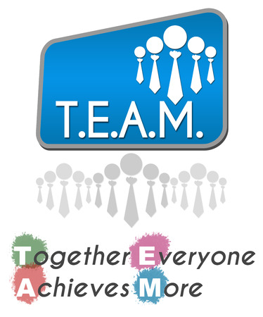 achieves: Team  Together Everyone Achieves More Blue Stock Photo