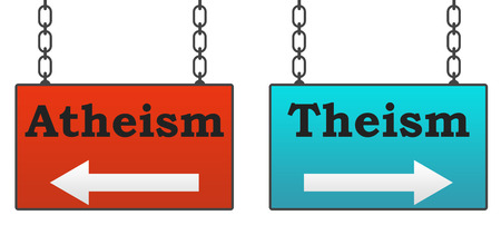 Teísmo ateísmo Letreros Foto de archivo - 39760094