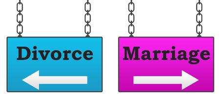 marital: Marriage Divorce Signboard Stock Photo