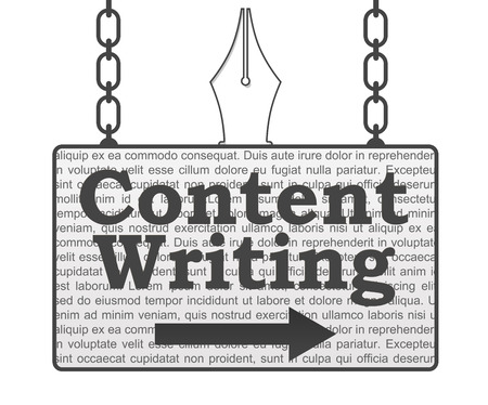 hanged: Content Writing Signboard Stock Photo