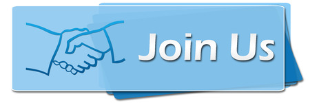 join: Join Us Blue Squares Symbol Stock Photo