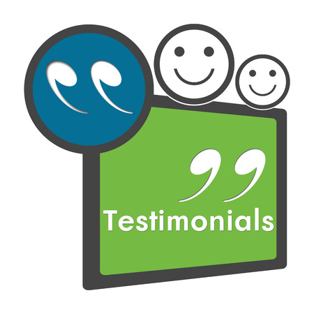 Testimonials Green Blue Circle Square Stock Photo