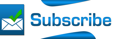 subscribing: Subscribe Blue Banner Stock Photo