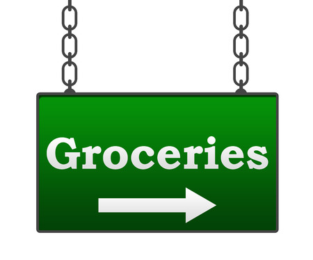grocer: Groceries Signboard Stock Photo