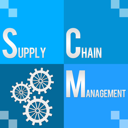 scm: SCM  Supply Chain Management Four Blocks Stock Photo