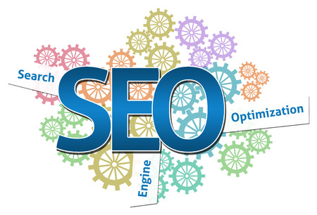 search engine marketing: SEO  Logotype Gears Colorful