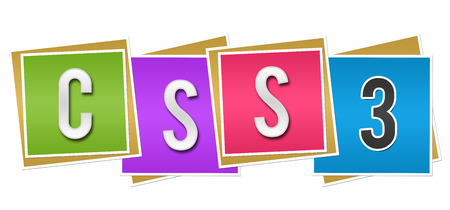 cascading style sheets: CSS Three Colorful Blocks Stock Photo