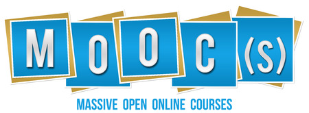 massive: Moocs  Massive Open Online Courses Blue Blocks Stock Photo