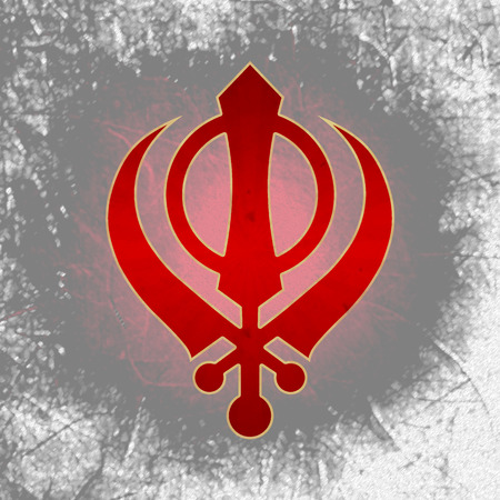 gurudwara: Sikh Symbol Black Grunge Stock Photo