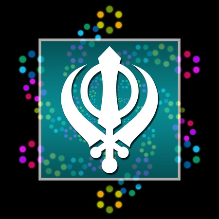 gurudwara: Sikhism Black Colorful Elements Stock Photo