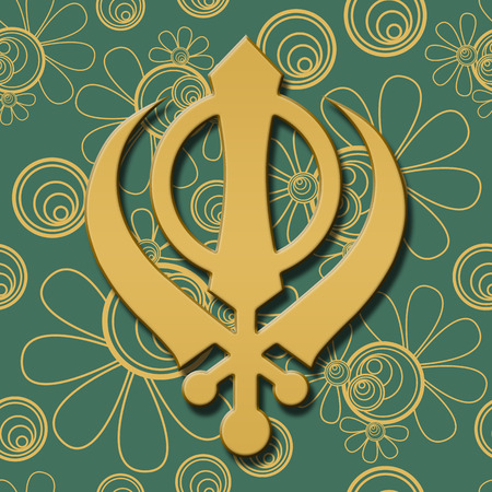 gurudwara: Sikh Symbol Green Golden Floral Stock Photo
