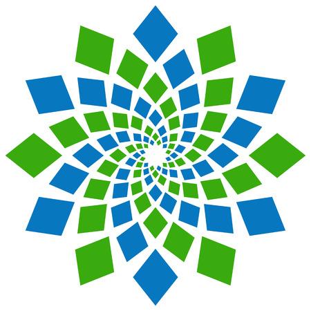 original circular abstract: Abstract Squares Circular Element Green Blue Stock Photo