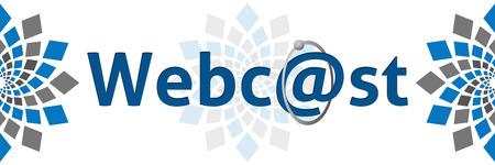 webcast: Webcast Blue Grey Square Elements Stock Photo