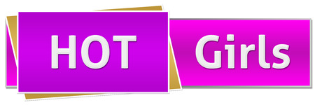 Hot Girls Pink Purple Button Style Stock Photo