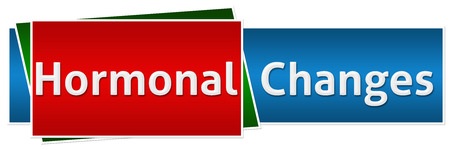 hormonal: Hormonal Changes Red Blue Button Style Stock Photo