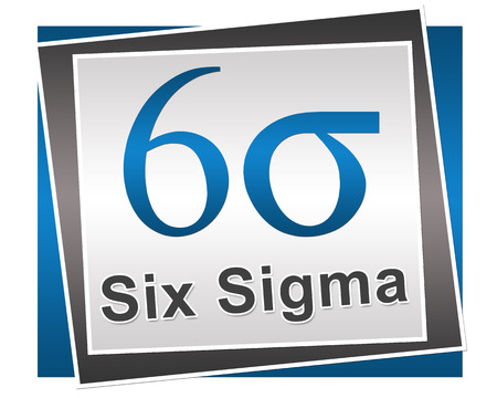 Six Sigma Symbol And Text Blue Grey Block