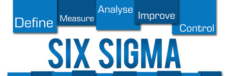 sigma: Six Sigma Blue Stripes On Top Stock Photo
