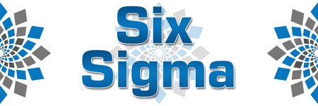 blue grey: Six Sigma Blue Grey Squares Elements Banner Stock Photo