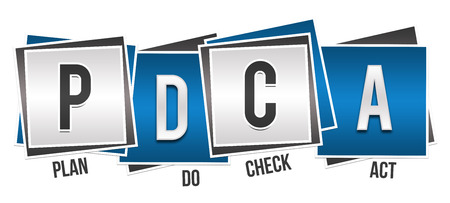supervise: PDCA - Plan Do Check Act Blue Grey Blocks Stock Photo