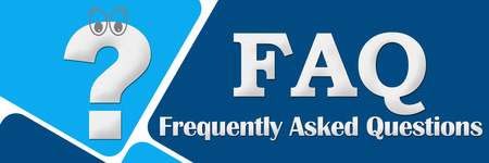 query mark: FAQ - Frequently Asked Questions Two Blue Squares