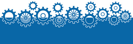 factory automation: Blue Horizontal Background With Gears