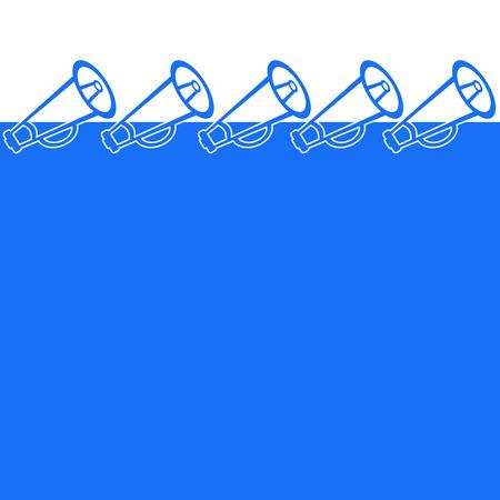 loud speakers: Blue Background With Loud Speakers Stock Photo