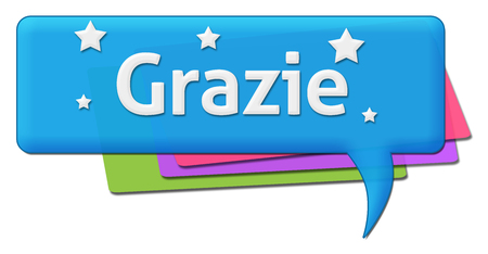 comment: Grazie Colorful Comment Symbol Stock Photo