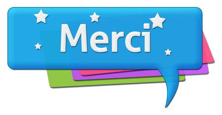 merci: Merci Colorful Comment Symbol Stock Photo